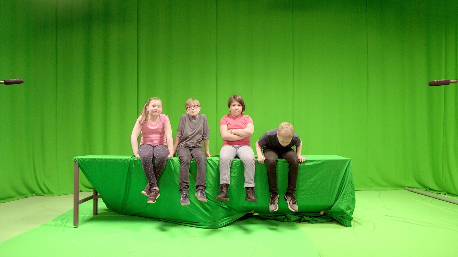 Royal Life Saving Society –image of actors in front of a green screen - Gallery image for Royal Life Saving Society project