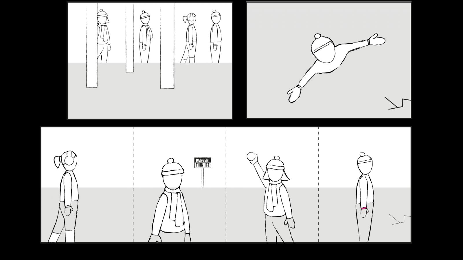 Royal Life Saving Society –Storyboard image sketch -  image for Royal Life Saving Society project