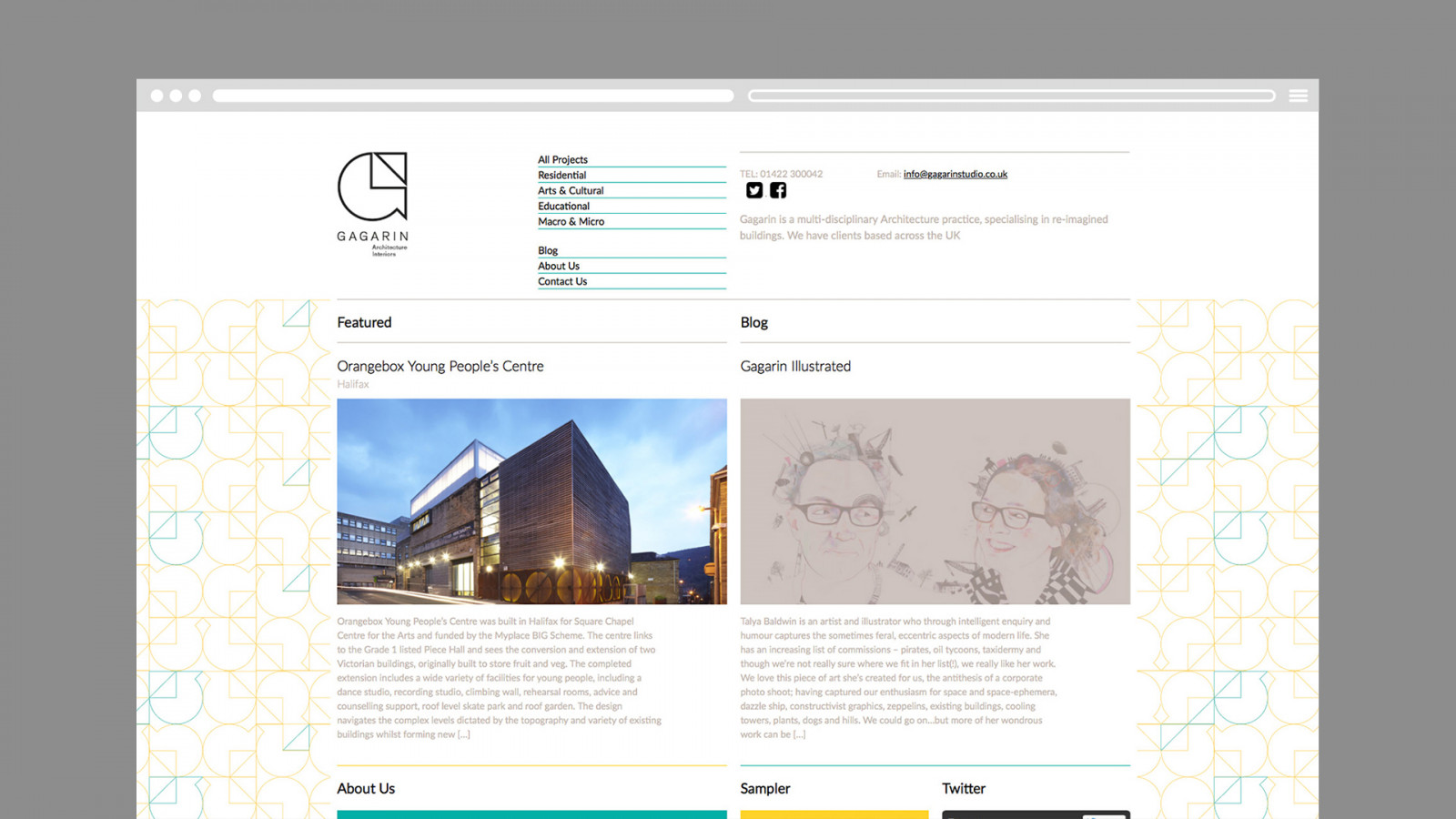 Gagarin Identity shown on a website homepage -  image for Gagarin Architecture and Interiors project